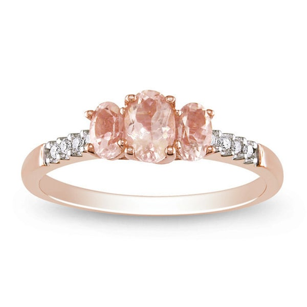Miadora 10k Rose Gold Morganite and 1/10ct TDW Diamond Ring
