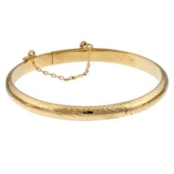 Sterling Essentials 14K Gold over Sterling Silver Silver Child's Engraved Bangle