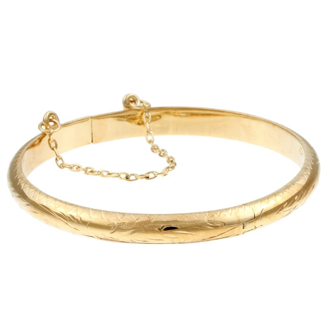 14K Gold over Sterling Silver Child's Engraved Bangle - Thumbnail 0