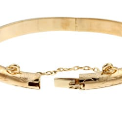 14K Gold over Sterling Silver Child's Engraved Bangle - Thumbnail 1