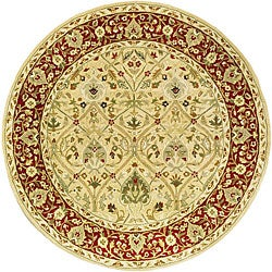 Safavieh Handmade Mahal Ivory/ Rust New Zealand Wool Rug (3'6 Round)