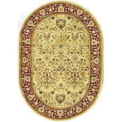Safavieh Handmade Mahal Ivory/ Rust New Zealand Wool Rug (4'6 x 6'6 Oval) - 4'6' x 6'6 oval - Thumbnail 0