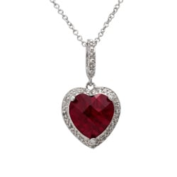 Sterling Silver Created Ruby and 1/10ct TDW Diamond Necklace