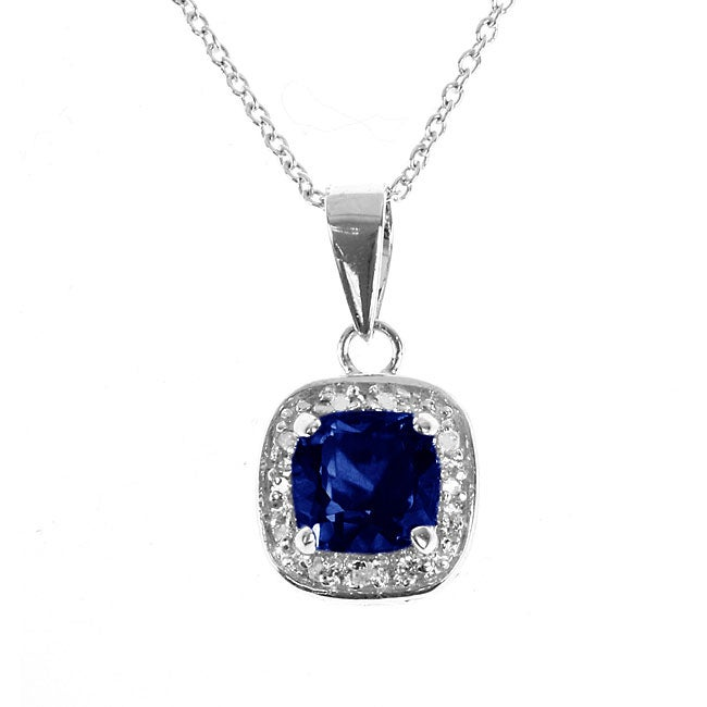Silver Created Sapphire and 1/10ct TDW Diamond Necklace - Thumbnail 0