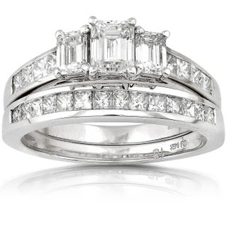 Annello 14k Gold 2ct TDW Emerald-cut Three Stone Diamond Bridal Ring Set (More options available)