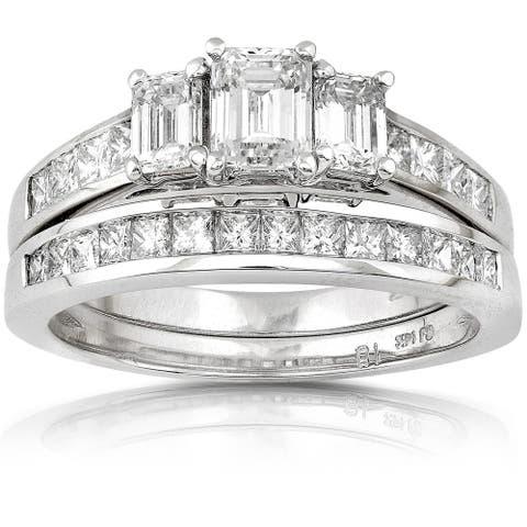 Annello by Kobelli 14k Gold 2ct TDW Emerald-cut Three Stone Diamond Bridal Ring Set