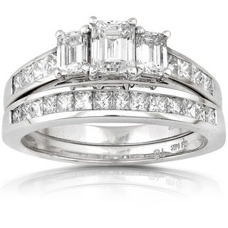 Annello by Kobelli 14k Gold 2ct TDW Emerald-cut Three Stone Diamond Bridal Ring Set