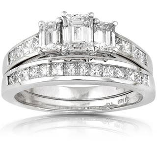 Annello 14k Gold 2ct TDW Emerald-cut Three Stone Diamond Bridal Ring Set|https://ak1.ostkcdn.com/images/products/4290056/P12270503.jpg?impolicy=medium