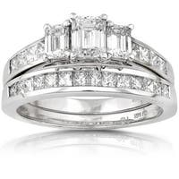 Annello 14k Gold 2ct TDW Emerald-cut Three Stone Diamond Bridal Ring Set