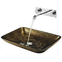 VIGO Rectangular Copper Glass Vessel Sink and Wall Mount Faucet Set