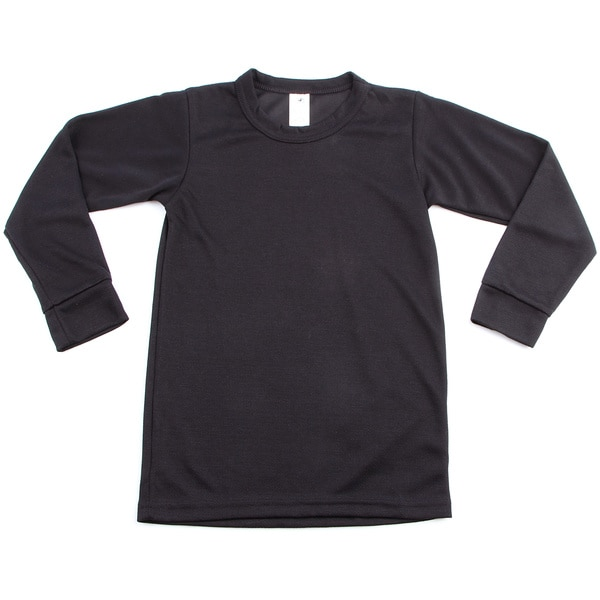 Kids' Midweight Thermal Crewneck Black Top