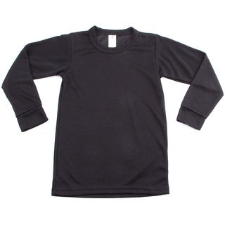 Kids' Midweight Thermal Crewneck Black Top (4 options available)