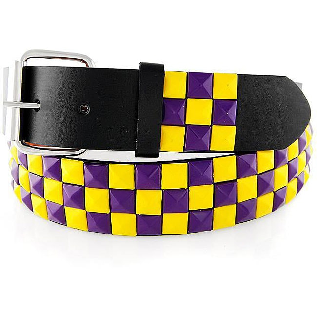 Men's Purple/ Yellow Studded Faux Leather Belt - Thumbnail 0