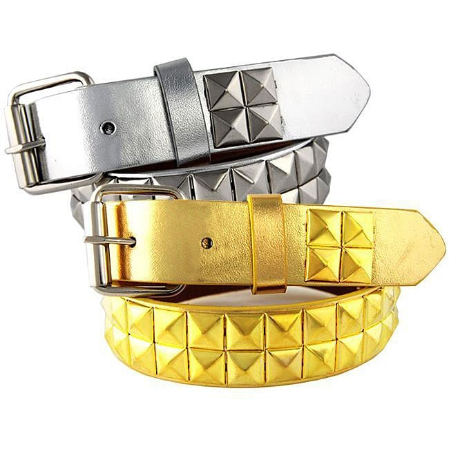Kid's Metallic Studded Faux Leather Belt