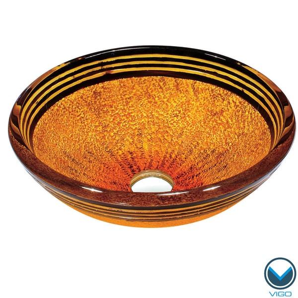 VIGO Tangerine Glass Vessel Bathroom Sink