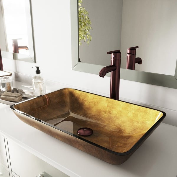 VIGO Copper Rectangular Glass Vessel Bathroom Sink