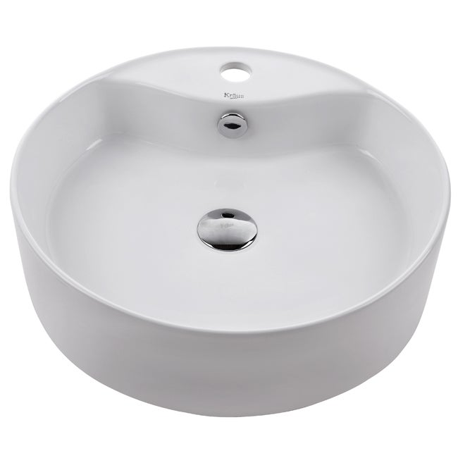 KRAUS Round Ceramic Vessel Bathroom Sink with Overflow