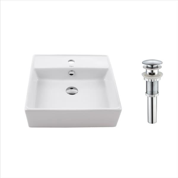 Kraus KCV-150 Elavo 18-1/2 Inch Square Vessel Porcelain Ceramic Vitreous Bathroom Sink in White, Overflow Drain optional