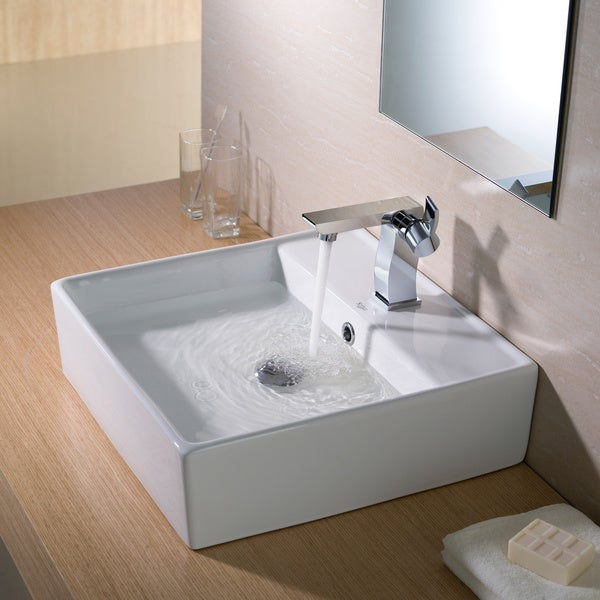 KRAUS Square Ceramic Vessel Bathroom Sink with Overflow in White and Pop-Up Drain in Chrome
