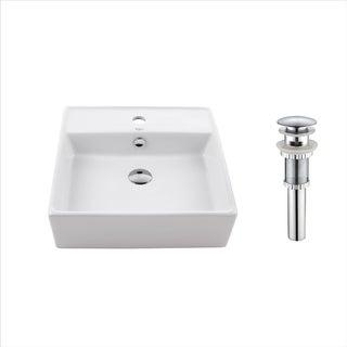 Kraus KCV-150 Elavo 18-1/2 Inch Square Vessel Porcelain Ceramic Vitreous Bathroom Sink in White w Overflow Drain Chrome