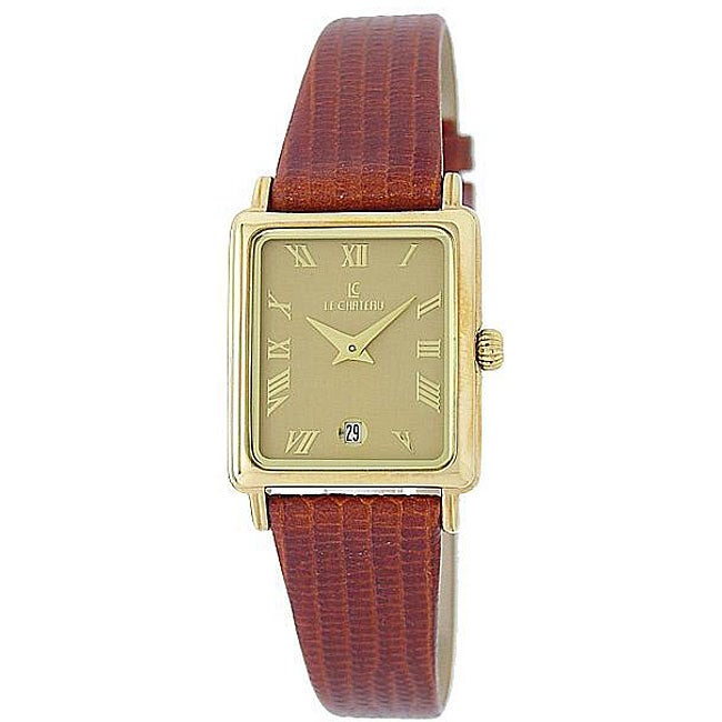 Le Chateau Women's Goldplated Brown Leather Strap Watch