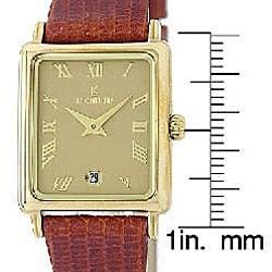 Le Chateau Women's Goldplated Brown Leather Strap Watch - Thumbnail 2