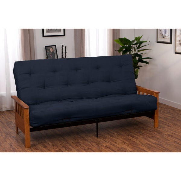 Provo Queen-size Mission-style Frame Cotton Foam Futon Set