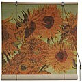 Handmade Van Gogh's 'Sunflowers' 48-inch Bamboo Blind (China)