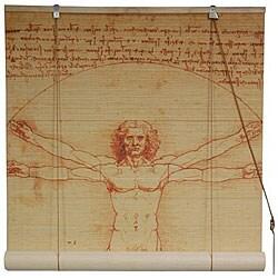 Handmade Da Vinci's Vitruvian Man 36-inch Bamboo Blind (China)