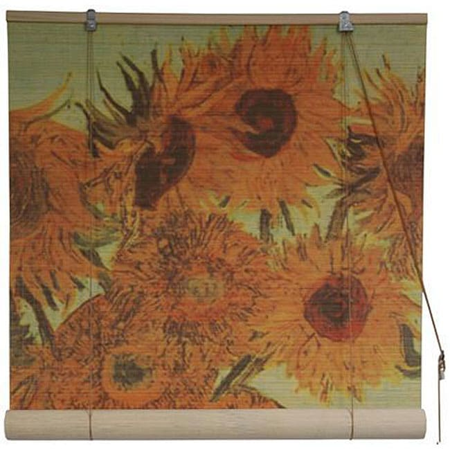 Handmade Van Gogh's 'Sunflowers' 36-inch Bamboo Blind (China)