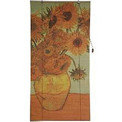 Handmade Van Gogh's 'Sunflowers' 36-inch Bamboo Blind (China) - Thumbnail 2