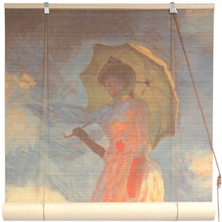 Handmade Monet's 'Girl With a Parasol' 48-inch Bamboo Blind (China)