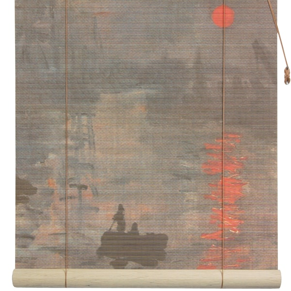 Handmade Monet's 'Impression Sunrise' 36-inch Bamboo Blind (China)