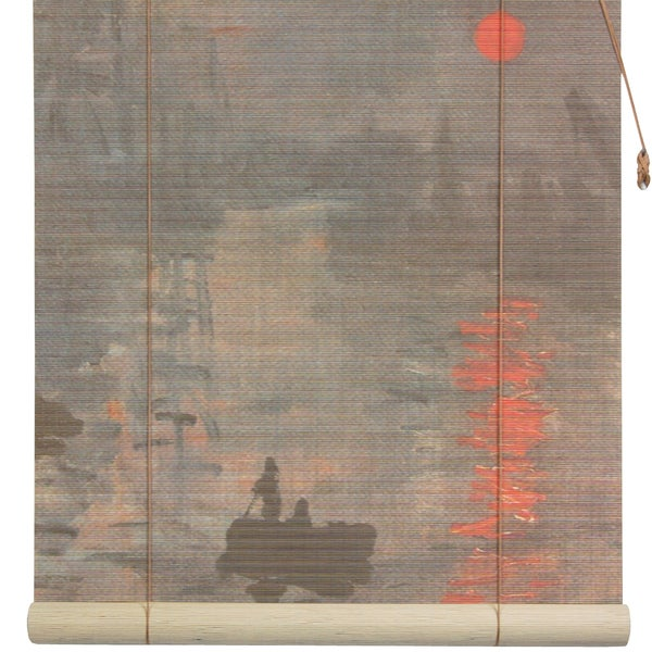 Handmade Monet's 'Impression Sunrise' 48-inch Bamboo Blind (China)