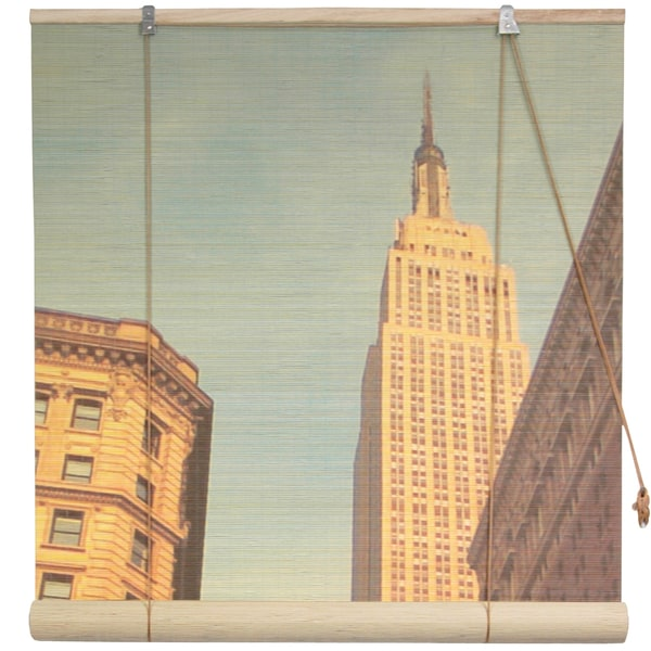 Handmade Empire State Building 48-inch Bamboo Blinds (China)