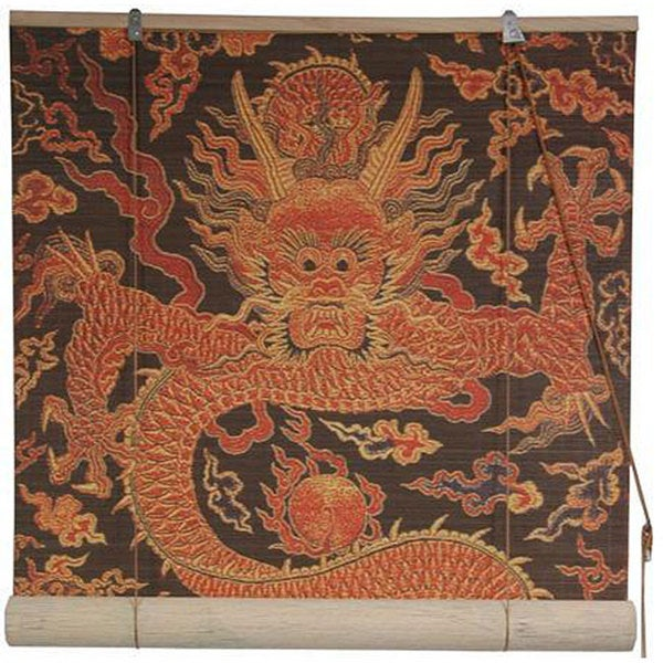 Handmade Dragon Design 48-inch Bamboo Blind (China)