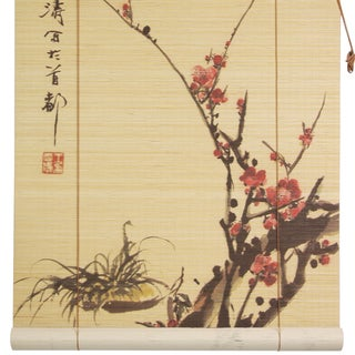 Handmade Sakura Blossom 36-inch Bamboo Blinds (China)