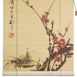 Handmade Sakura Blossom 36-inch Bamboo Blinds (China)