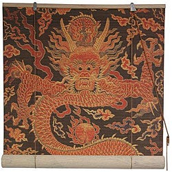 Handmade Dragon Design 36-inch Bamboo Blind (China)