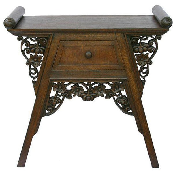[Handmade] Hand-carved Teak Wood Floral Console Table