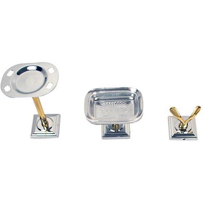 Moen Monaco Chrome Polished Brass 3-piece Bath Accessory Kit
