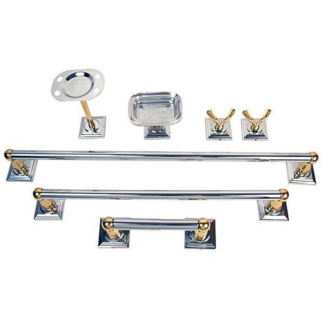 Moen monaco chrome polished brass 7 piece bath accessory for Bathroom accessories kit