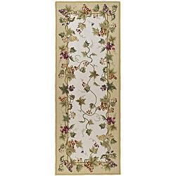 Safavieh Hand-hooked Flora Ivory Wool Rug (3' x 10')