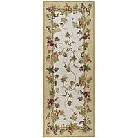 Safavieh Hand-hooked Flora Ivory Wool Rug - 3' x 10'