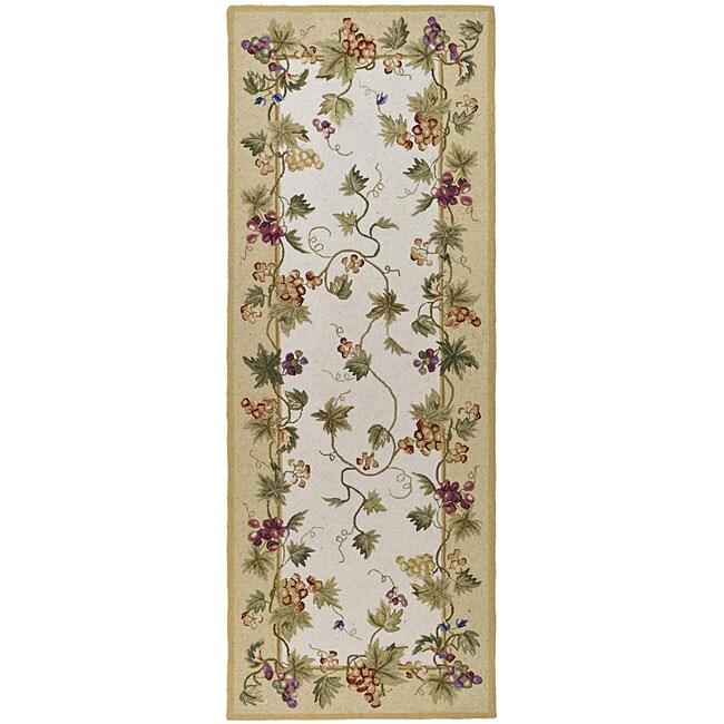 Safavieh Hand-hooked Flora Ivory Wool Rug - 3' x 12'