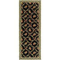 Safavieh Hand-hooked Pineapple Trellis Black/ Ivory Wool Rug (3' x 12')