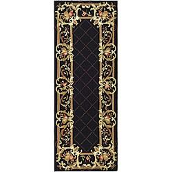 Safavieh Hand-hooked Trellis Black Wool Rug (3' x 10')