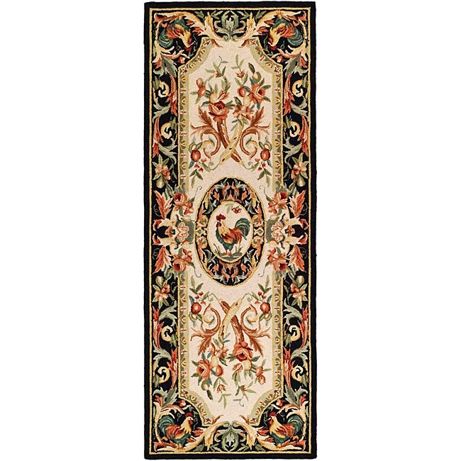 Safavieh Hand-hooked Rooster Ivory/ Black Wool Runner (3' x 6')