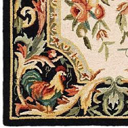 Safavieh Hand-hooked Rooster Ivory/ Black Wool Runner (3' x 6') - Thumbnail 1