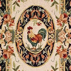 Safavieh Hand-hooked Rooster Ivory/ Black Wool Runner (3' x 6') - Thumbnail 2